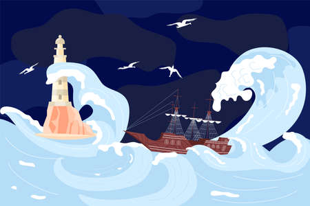 Lighthouse on a rock among storm waves, Sailboat is shipwrecked in huge wave on the dark blue background. Flat Art Vector illustration
