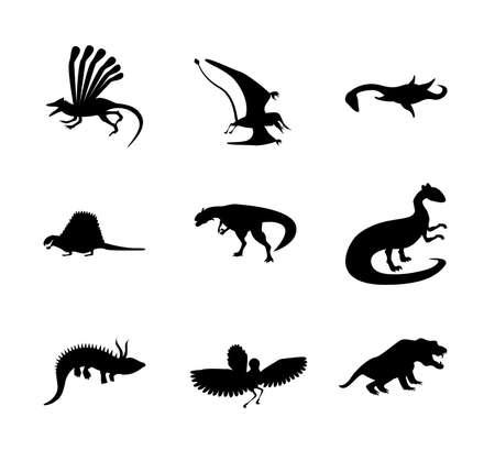 Set of Jurassic reptile. Dinosaur silhouettes in modern flat design. Dino Isolated on white background. Flat Art Vector Illustration Иллюстрация