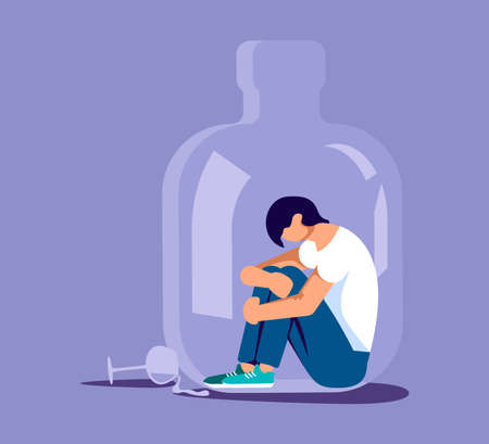 Lonely alcoholic man trapped in a bottle. Alcohol addiction metaphor. Isolated on purple. Flat Art Vector Illustration Иллюстрация