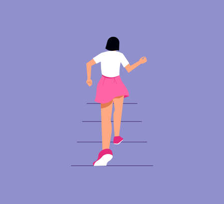 The girl climbs up the stairs. Development, goal achievement, aspiration, reaching aim, personal growth metaphor. Isolated on purple. Flat Art Vector Illustration