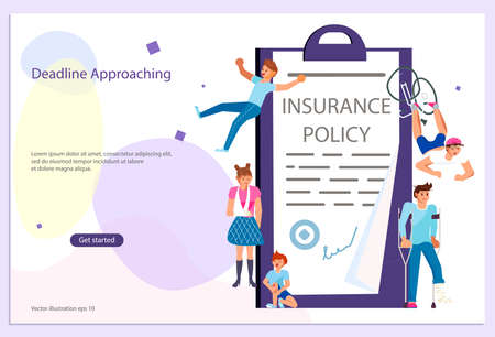 Landing web page template of Insurance service and Protecting Health and Life Concept. Banner with tiny people and insurance policy isolated. Flat Art Vector Illustration Иллюстрация