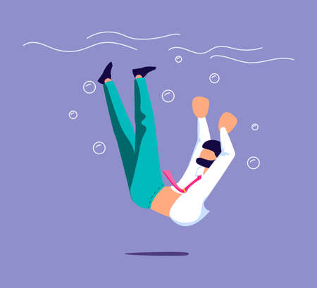 Businessman sinking and drowning. Failure, bankruptcy, financial crisis metaphor.