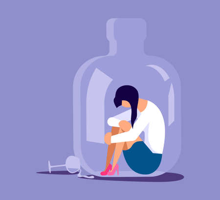 Lonely alcoholic woman trapped in a bottle. Alcohol addiction metaphor. Isolated on purple. Flat Art Vector Illustration Stock Illustratie