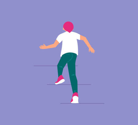 The guy climbs up the stairs. Development, goal achievement, aspiration, reaching aim, personal growth metaphor. Isolated on purple. Flat Art Vector Illustration Иллюстрация