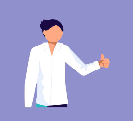 Business man keep his hand with a great thumbs up. OK or Good Job. Isolated on purple. Flat Art Vector Illustration 矢量图像