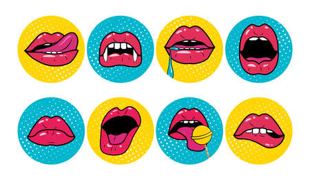 Woman lips pop art retro style set. Red mouth opened in surprise and says wow on blue and yellow background. Vector Illustration Stock Illustratie