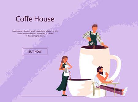 Landing web page template for coffee corner with tiny people and large cup of coffee. Concept of coffee break at work, coffee shop, communication and relaxation during lunch. Flat Art Vector Illustration Stock Illustratie