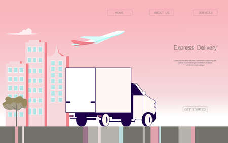 Landing web page template of Courier service. Fast delivery by car on the city and a pink sunset background, Online order concept, Ecommerce. Flat Art Vector Illustration