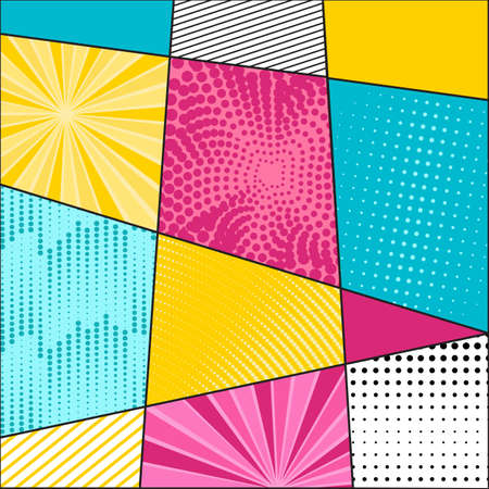 Comic book pattern background. Bright colorful composition graphic elements in Pop Art style. Vector Illustration