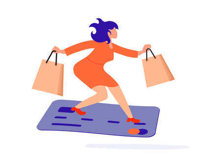 Tiny Woman flies on a huge bank credit card. Payment by holding a credit card metaphor.  Flat Art Vector Illustration