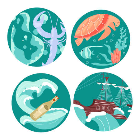Social Media Story highlight icons in sea stile set. Underwater scene with beautiful sea turtle, cute lobster, essage in a bottle, marine sailing ship among storm waves. Flat Art Vector illustration