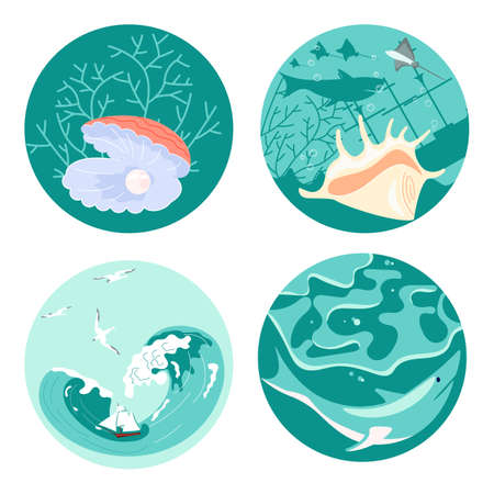Set of Social Media Story highlight icons in sea stile. Underwater scene beautiful pearl and animal shells, danger shark and marine sailing ship among storm waves. Flat Art Vector illustration