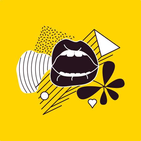 Pop Art style comic pattern composition with black lips and graphic elements on the yellow background. Vector Illustration Stock Illustratie