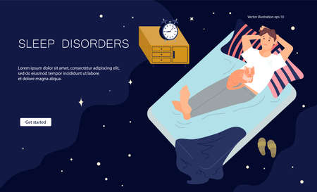 Landing web page template of Sleeping control. Young man character is lying on back in bed with insomnia. Female Insomniac with cat concept. Flat Art Vector illustration