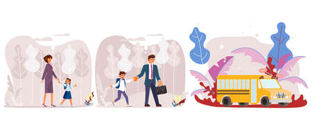 Back to school web banner template. Mother and father leading their children to school concept. Child with parents go for education. Flat Art Vector illustration