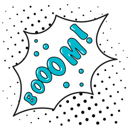 Boom - blue Bubble speech on black spots comic background. Suitable for comment or thinking note in Pop Art style. Vector Illustration Stock Illustratie