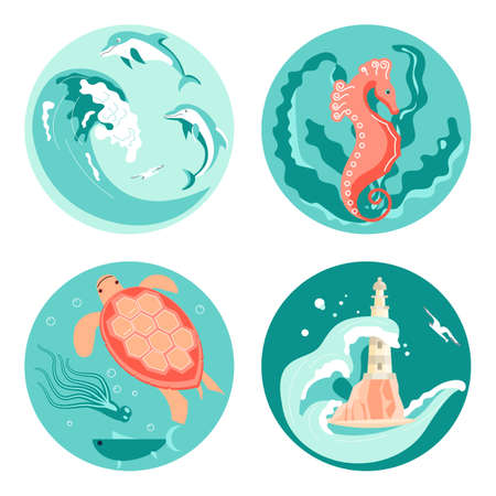 Set of Social Media Story highlight icons in sea stile. Underwater scene with beautiful sea turtle, dolphins jump on waves, seahorse hiding in seaweed, lighthouse on rock. Flat Art Vector illustration