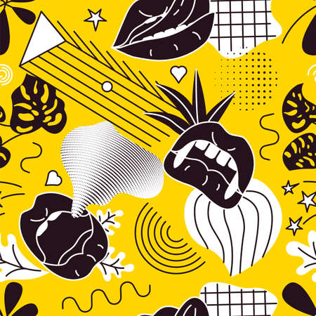 Pop Art style comic seamless pattern composition with black lips and graphic elements on the yellow background. Vector Illustration