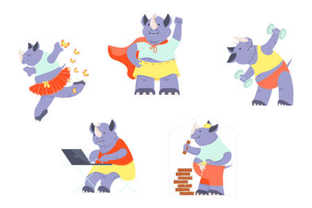 Set of Happy funny rhino dancing, doing exercising, working, in superhero costume. Cute character collections isolated on white. Flat Art Vector Illustration Ilustrace