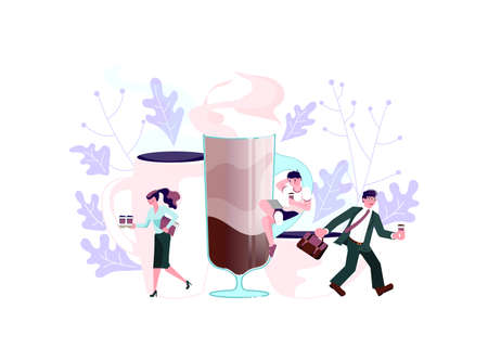 Coffee shop with tiny people and large pot and cup of coffee. Concept of coffee break at work, coffee to go, communication and relaxation during lunch. Flat Art Vector Illustration