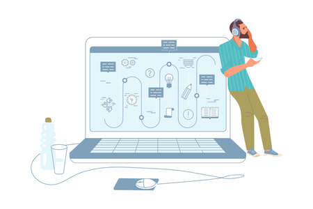 Young man at Work. Guy Using Laptop and smartphone at remote workplace. Girl Browsing Internet, Chatting, Blogging. Online education concept. Flat Art Vector Illustration Stock Illustratie