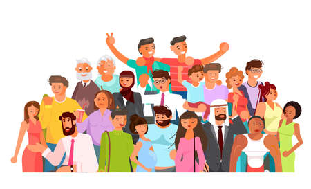 Social diversity crowd. Happy old and young men and women together. Diverse multicultural group of people isolated on white background. Flat Art Vector Illustration