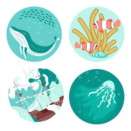 Set of Social Media Story highlight icons in sea stile. Underwater scene with blue whale, cute anemones, beautiful jellyfish and marine sailing ship among storm waves. Flat Art Vector illustration