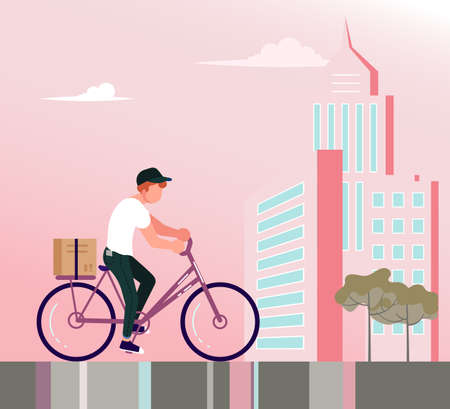 Square banner of Courier service. Fast delivery by bicycle, Online order concept, Ecommerce. Flat Art Vector Illustration
