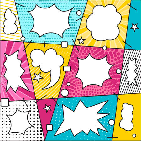 Comic book pattern background with bubble speech. Bright colorful composition graphic elements in Pop Art style. Vector Illustration