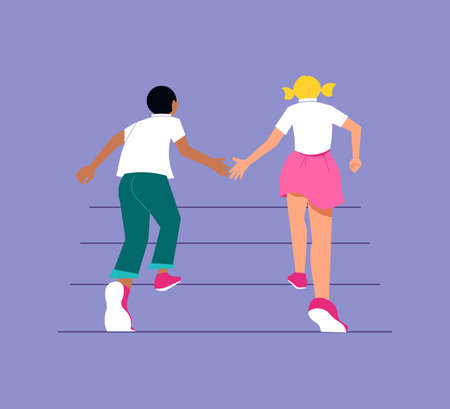 African boy and a Caucasian girl pull their hands towards each other and run up the stairs together. Friendship and human relations metaphor. Isolated on purple. Flat Art Vector Illustration