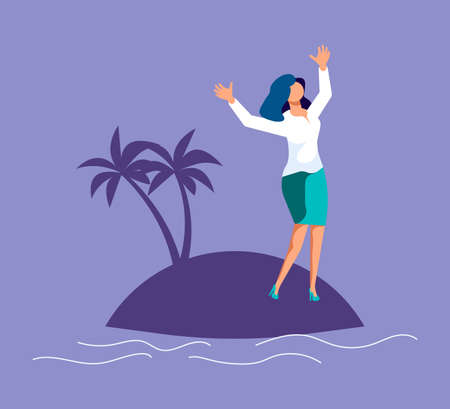 Lonely desperate unhappy woman screams for help on a desert island. Metaphor of Psychological crisis, regret or sad feelings. Flat Art Vector Illustration