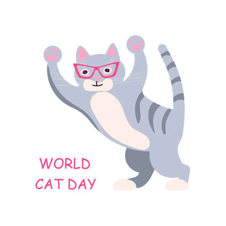 Naughty cat in pink glasses on its hind legs plays. Square card with funny kitten in flat design. Happy cats day. Flat Art Vector Illustration Ilustrace