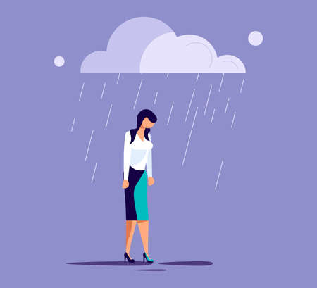Sad lonely woman in depression lowered her head and wanders in the rain. Metaphor of Psychological crisis, regret or sad feelings. Flat Art Vector Illustration