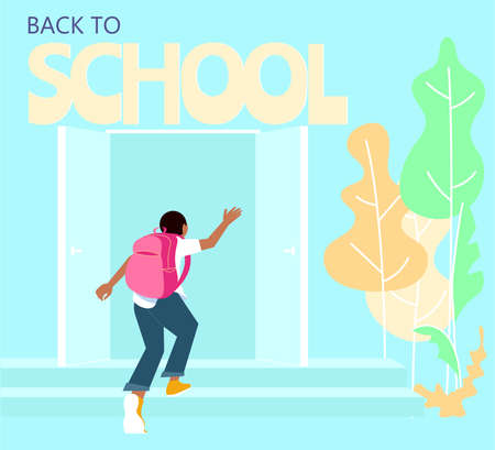 Schoolboy with backpack running upstairs. Start of classes, back to school concept. Flat Art Vector Illustration