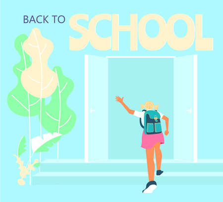 Schoolgirl with backpack running upstairs. Start of classes, back to school concept. Flat Art Vector Illustration