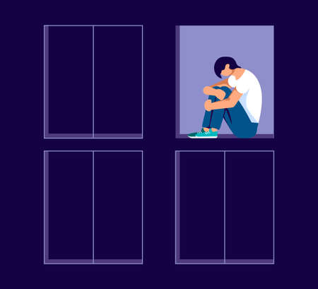 Sad lonely man in depression sitting on a windowsill in an open window. Metaphor of Psychological crisis, regret or sad feelings. Flat Art Vector Illustration Ilustrace