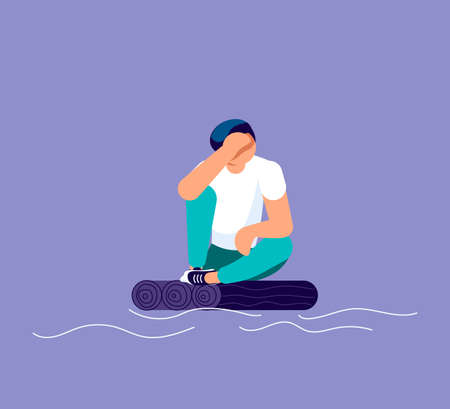 Sad lonely man in depression sitting on a small raft on the high seas. Metaphor of Psychological crisis, regret or sad feelings. Flat Art Vector Illustration Ilustrace