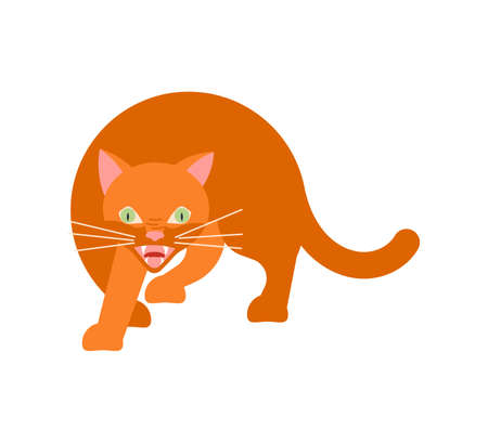 Playful ginger cat cautiously sneaks steals. Square card with funny kitten in flat design. Happy cats day. Flat Art Vector Illustration Ilustrace