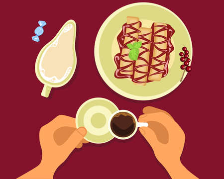 Person is eating stuffed pancakes and drinking hot coffee top view. Menu for cofee break, breakfast, lunch or dinner. Flat Art Vector Illustration