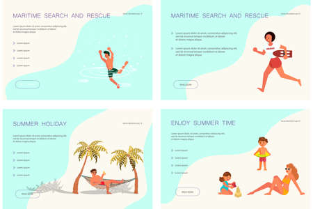 Set of Landing web page template of rest on Beautiful beach. People have relax and sea activity. Flat Art Vector illustration