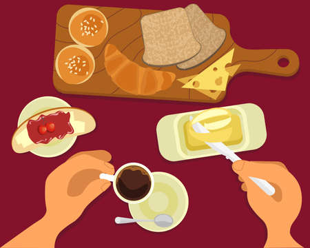 Person is eating toast with butter and drinking hot coffee top view. Menu for cofee break, breakfast, lunch or dinner. Flat Art Vector Illustration