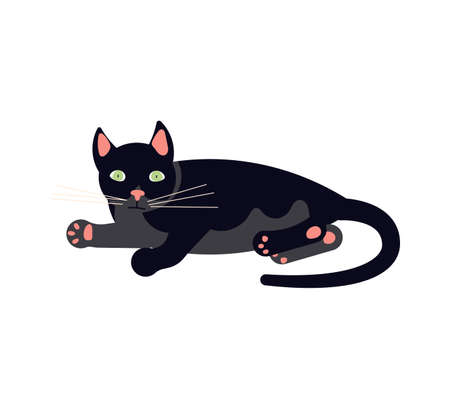 The black cat lies on its side and purrs. Square card with funny kitten in flat design. Happy cats day. Flat Art Vector Illustration