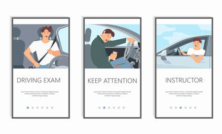 Young driver character in car concept series. Screens user interface kit of driving cases, mobile app templates. Modern UX, UI screen for mobile or responsive website. Flat Art Vector Illustration