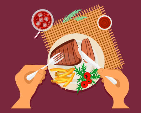 Person is eating bbq meat steak with french fries top view. Menu for lunch or dinner. Flat Art Vector Illustration Ilustrace