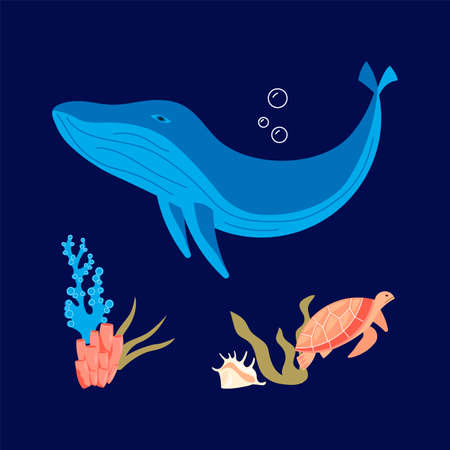 Underwater scene with blue whale coral reef and sea turtle is swimming on dark blue marine background. Flat Art Vector Illustration Ilustracja