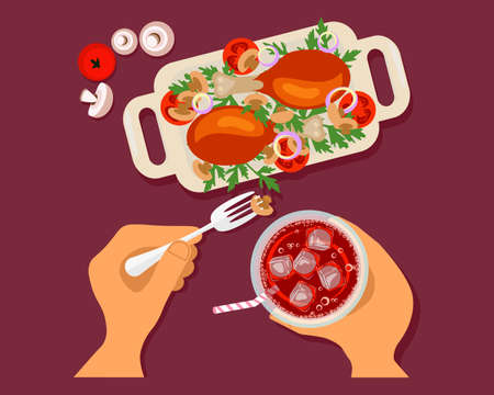 Person is eating oasted chicken thighs and drinking soda top view. Menu for lunch or dinner. Flat Art Vector Illustration