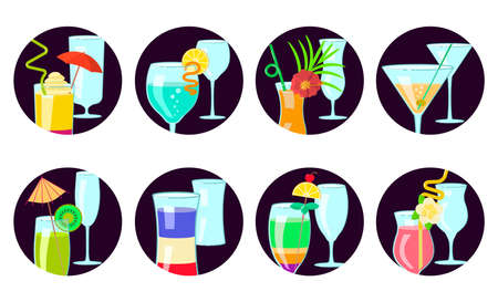 Exotic cocktail Set of Social Media Story highlight icons. Different shapes coctail glass and straws, parasols, umbrellas, toothpick for party decoration. Flat Art Vector illustration