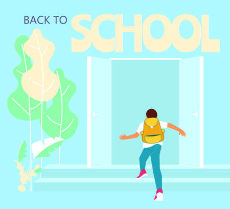 Schoolboy with backpack is running upstairs. Concept of Start of classes, back to school. Flat Art Vector Illustration