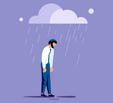 Sad lonely man in depression lowered her head and wanders in the rain. Metaphor of Psychological crisis, regret or sad feelings. Flat Art Vector Illustration