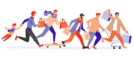 Joyful running People group bunner. Diversity of men and women late, hurry or haste. Flat Art Vector Illustration Ilustración de vector
